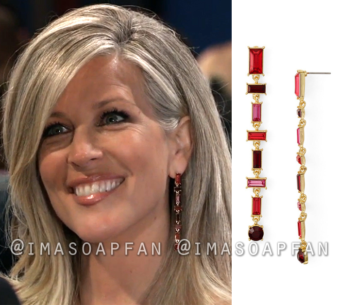 Carly Corinthos, Laura Wright, Red Crystal Linear Drop Earrings, Nurses Ball, General Hospital, GH