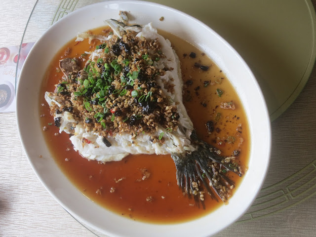 Steamed Wild Marble Goby with Black Bean and Preserved Radish Pickle