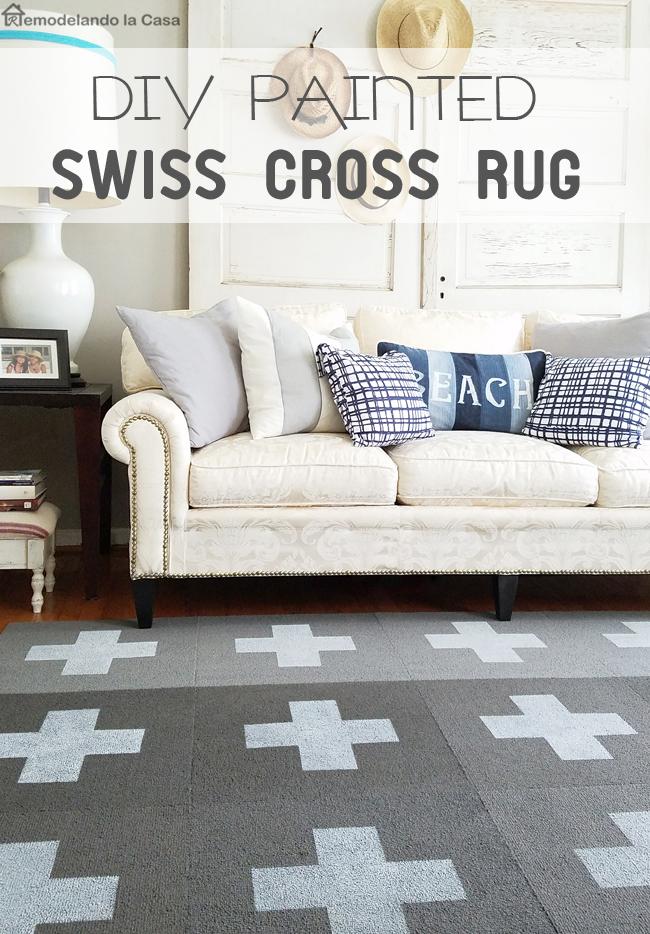 DIY Painted Swiss Cross Rug Remodelando La Casa Amazing Living Room Carpets Rugs Painting