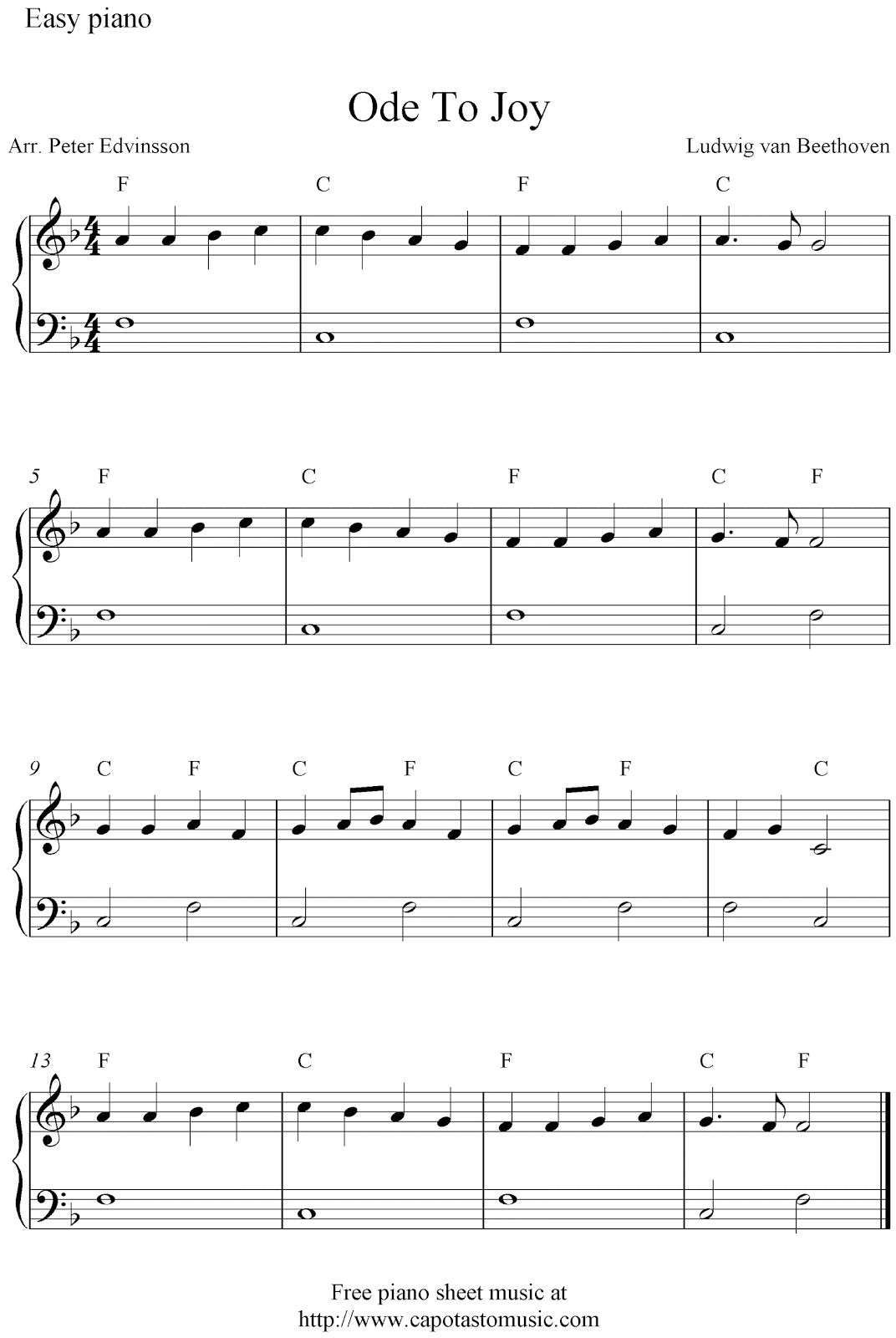 Free Easy Piano Sheet Music For Beginners Ode To Joy By