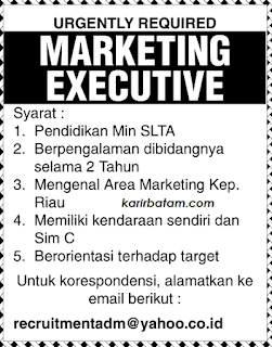 Lowongan Kerja Marketing Executive (Ditutup 21 Juli 2017)