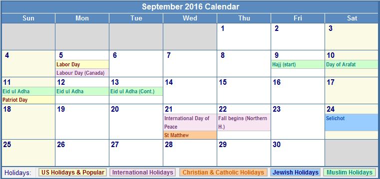 September Calendar 2016 With Holidays : Free printable calendar blank