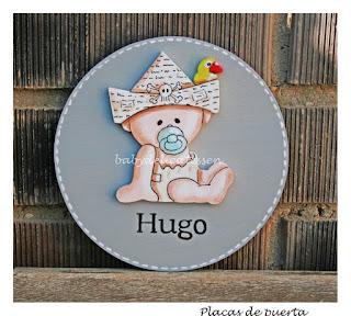 placa de puerta infantil  bebé pirata nombre Hugo babydelicatessen