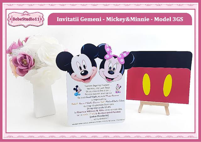 invitatii botez fara foto gemeni Mickey-Minnie