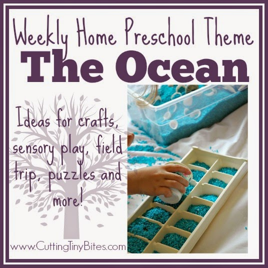Ocean Theme- Weekly Home Preschool. Crafts, activities, sensory box, picture books, and more! Perfect amount of activities for one week of EASY home preschool!
