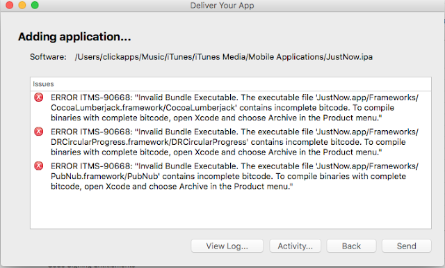 How to solve iOS app upload issue - The executable contains incomplete bitcode.To compile binaries with complete bitcode