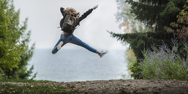 "Featured in the article: ""The Path To True Success"" . Girl happy, jumping, being successful, pathway"