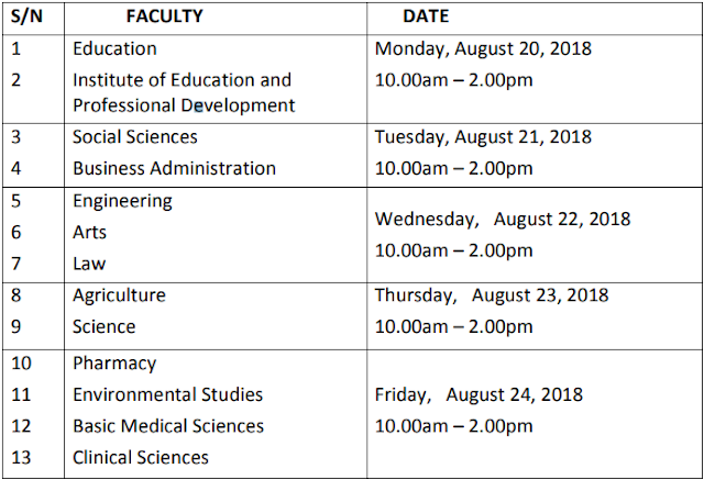 UNIUYO 2018/2019 Postgraduate Admission Screening Timetable is Out