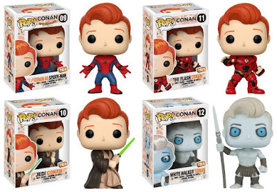 San Diego Comic-Con 2017 Exclusive Conan O'Brien Pop! Vinyl Figure Series 3 by Funko – The Flash Conan, Jedi Conan, White Walker Conan & Spider-Man Conan