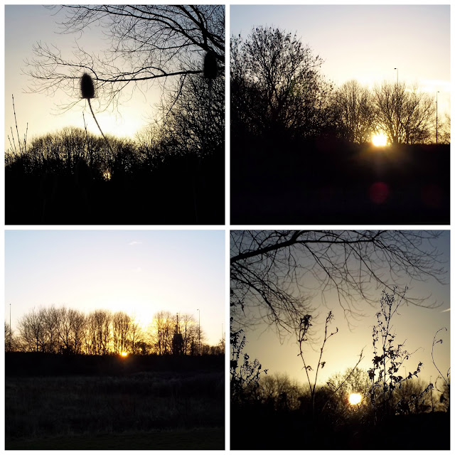 Four photos featuring different sunsets