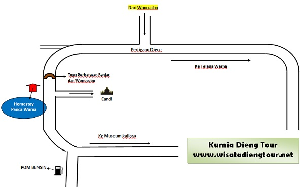 peta lokasi homestay pancawarna Dieng