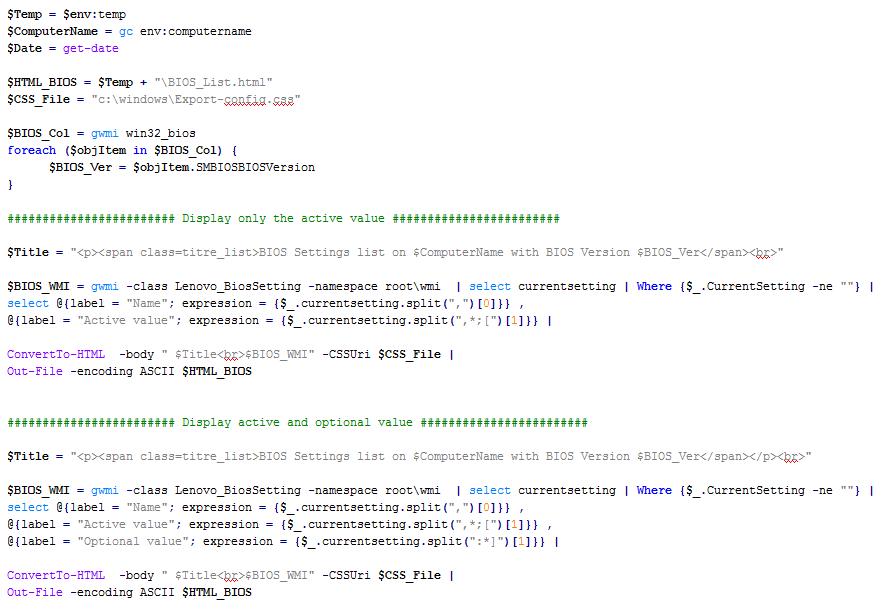 Powershell Tip : Export some BIOS settings to HTML on LENOVO