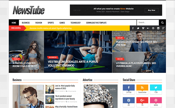 Newstube blogger template high quality free blogger templates wajeb Image collections