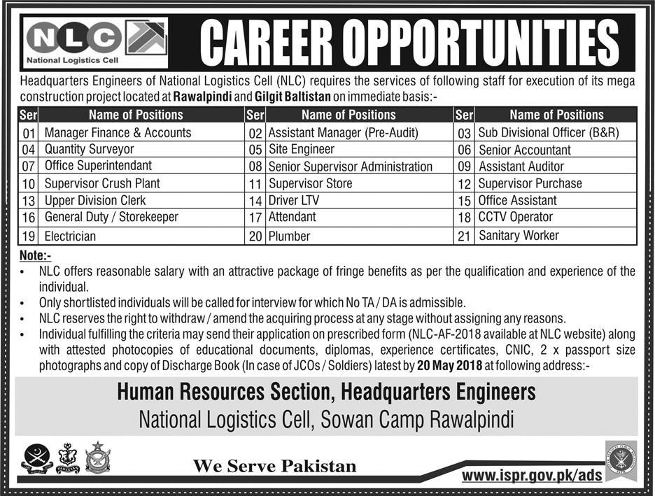 Jobs In National Logistics Cell May 2018 for 20+ Positions