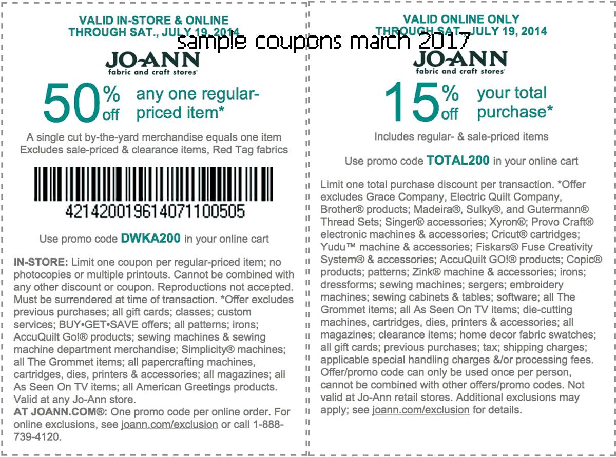 Joann discount coupon