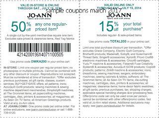 Joann coupons march