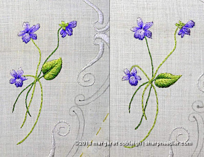 The last two violet bunches embroidered with antique silk threads. (Society Silk Violets)
