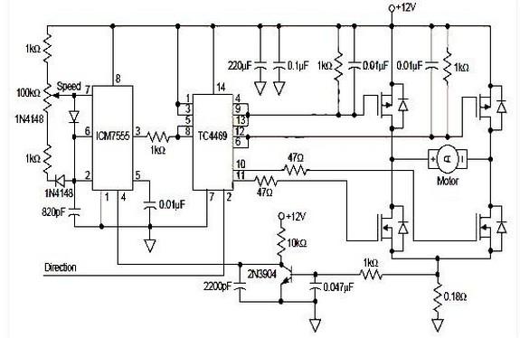 Circuit Schematic DC Motor Driver PWM H-Bridge using