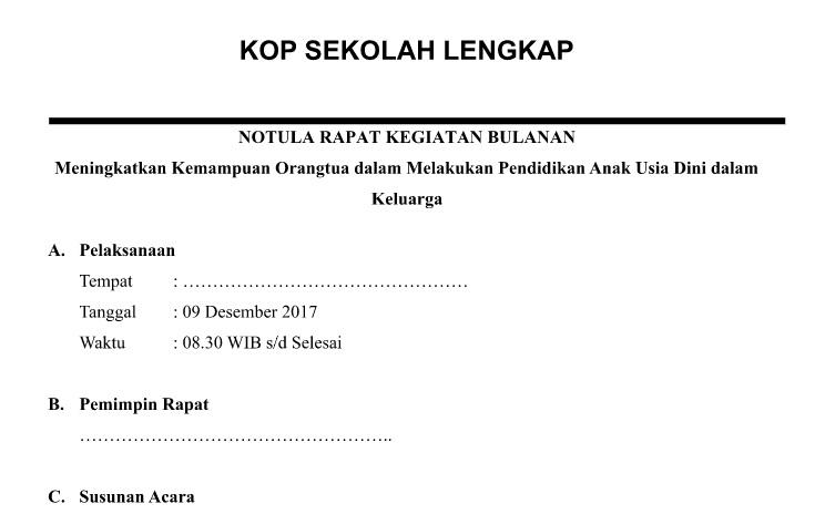 Download Contoh Notulen Rapat Wali Murid Paud Paud Baitul Fiqri