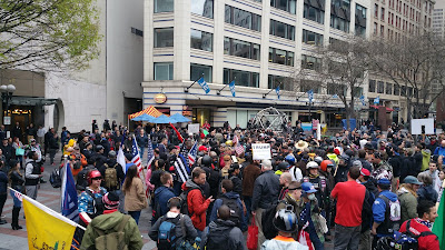 """Many turned out for the Seattle """"May Day"""" event on 5/1/2017"""
