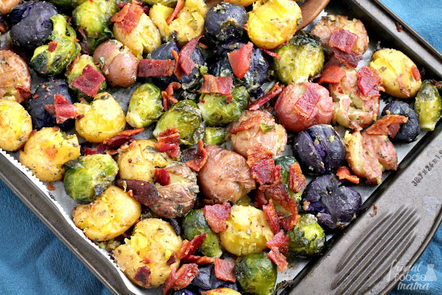These crispy & flavorful Bacon & Ranch Smashed Potatoes & Brussels Sprouts will quickly become your new go-to side dish.