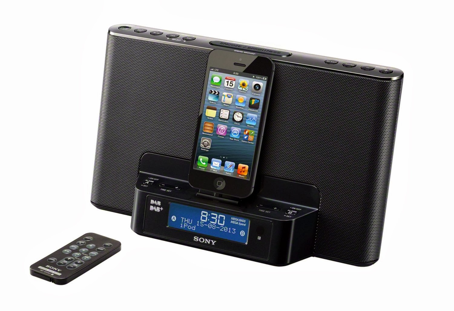 sony dab radio speaker charging docking station iphone 6 plus iphone 6 5s 5c 5 ipod touch 5. Black Bedroom Furniture Sets. Home Design Ideas