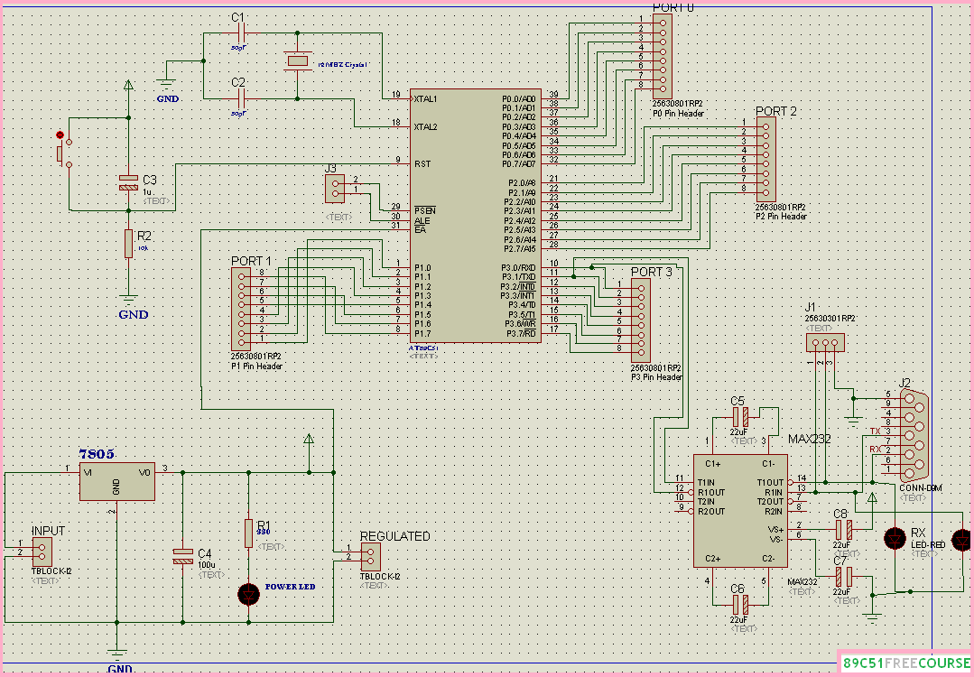 ok readers in today s post you learned how to make a basic 89c51 8051 development board circuit using proteus 7 6 i have tried my best to explain  [ 1079 x 750 Pixel ]