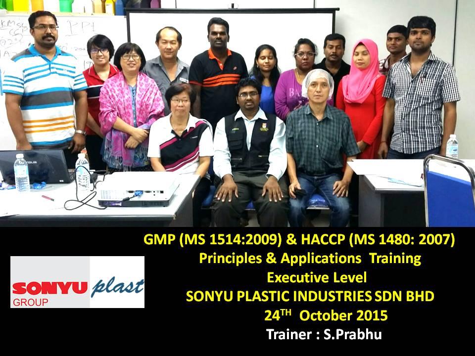 prabhu the trainer: GMP & HACCP Training at Sonyu Plastic