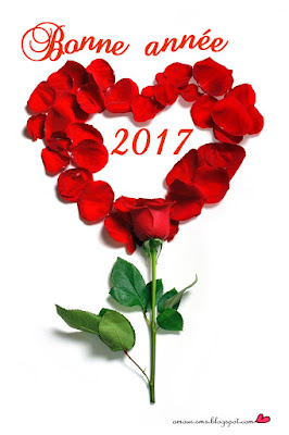 Bonne année 2017 pétale de rose