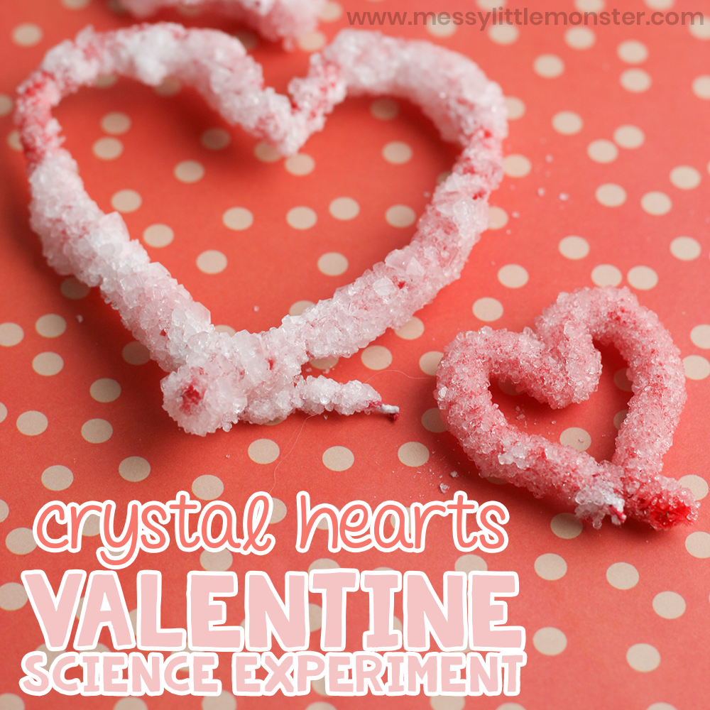 Crystal heart valentine science experiment