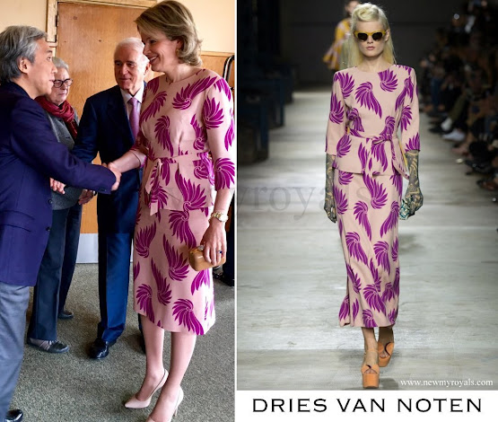 Queen Mathilde wore Dries Van Noten Dress - Spring 2016 Ready-to-Wear Collection