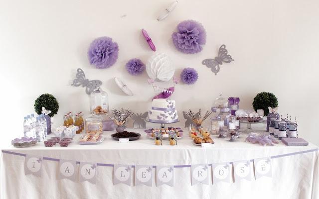 decoration de table d'anniversaire et de mur pour fille