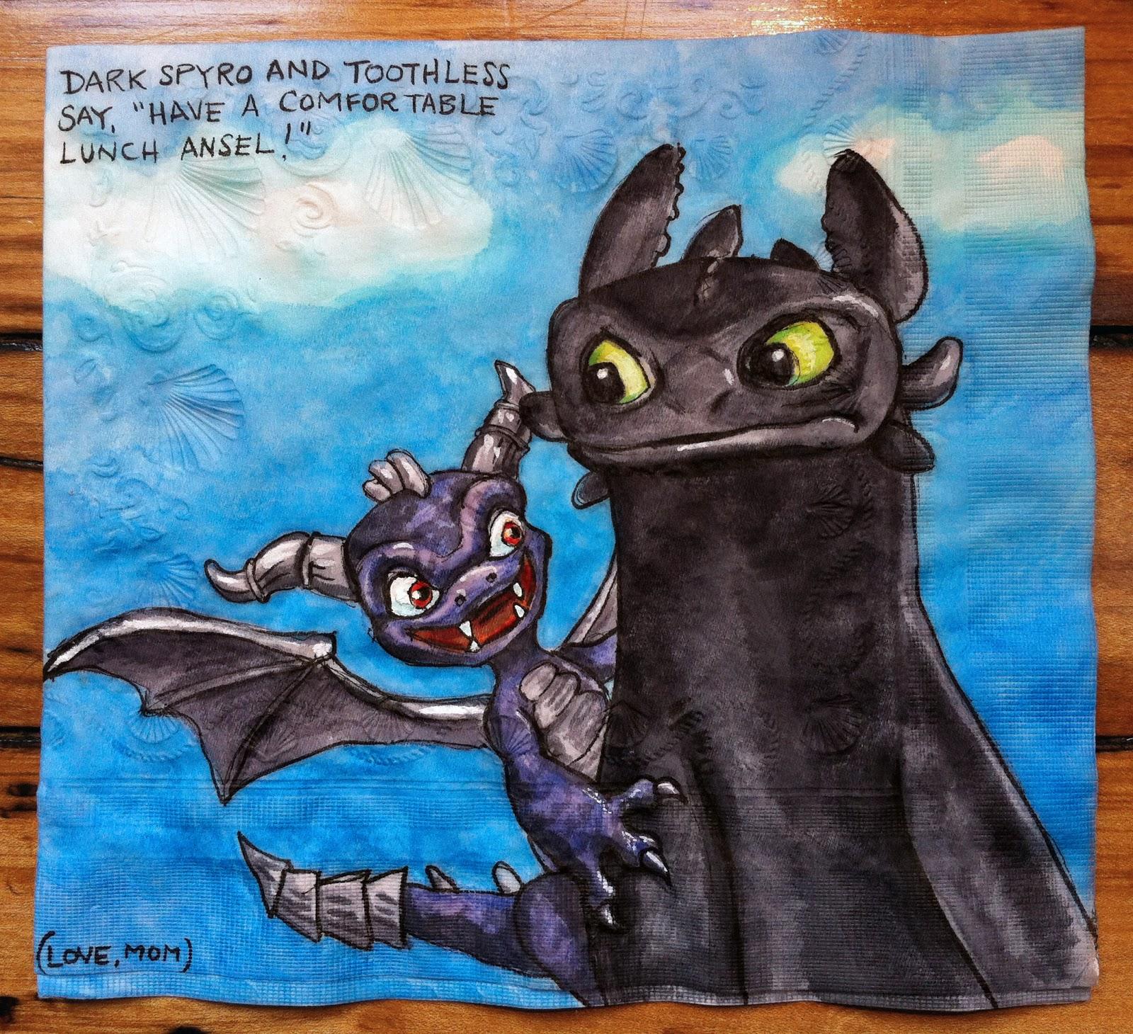 Daily Napkins: Dark Spyro from Skylanders and Toothless - photo#26