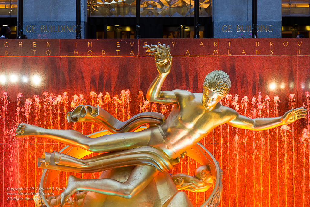 a photo of the prometheus statue at rockefeller center new york