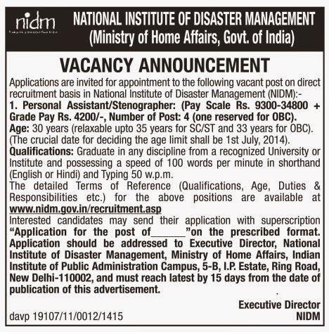 NIDM%2B-%2BNotification%2BHere Govt Job Form For Th P In Delhi on