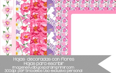 hojas decoradas con flores para imprimir