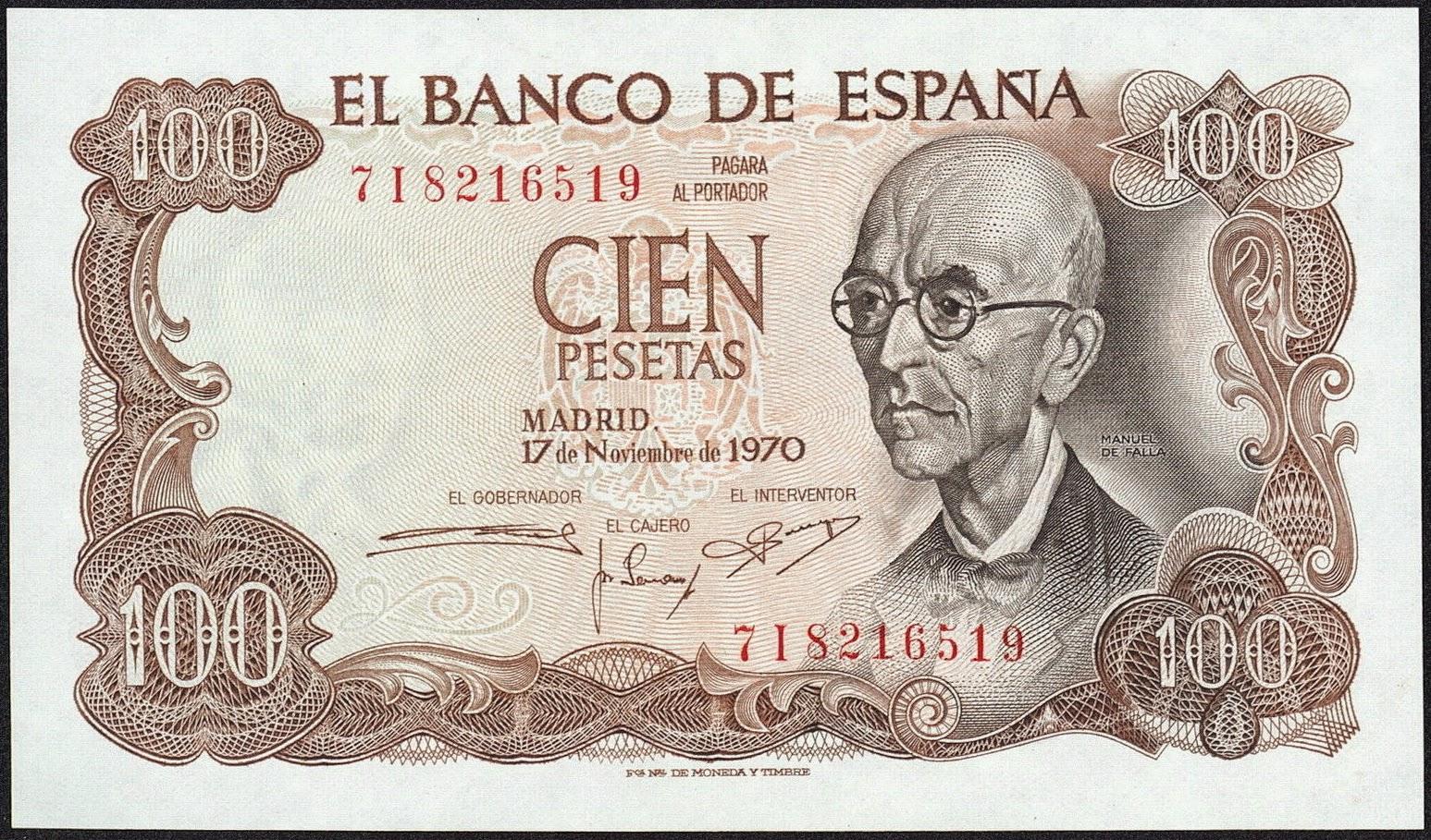 Spain Banknotes 100 Pesetas banknote 1970 Composer Manuel de Falla
