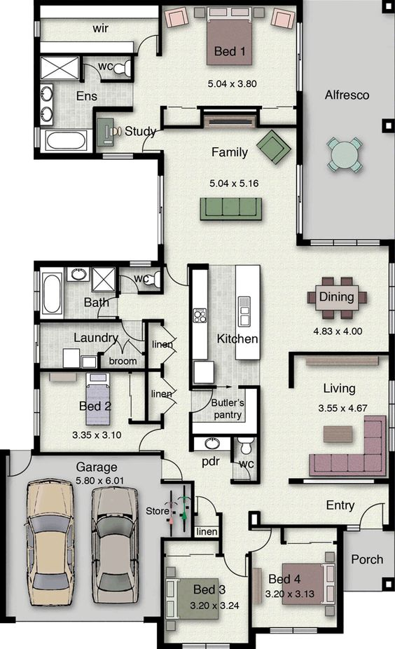 4 bedrooms 2 Baths house floor plan