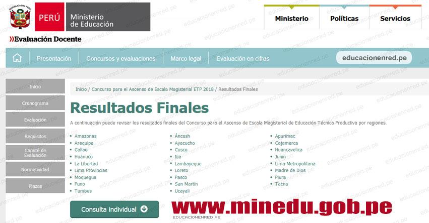 MINEDU: Resultados Finales del Concurso de Ascenso de Escala Magisterial ETP 2018 (14 Diciembre) www.minedu.gob.pe