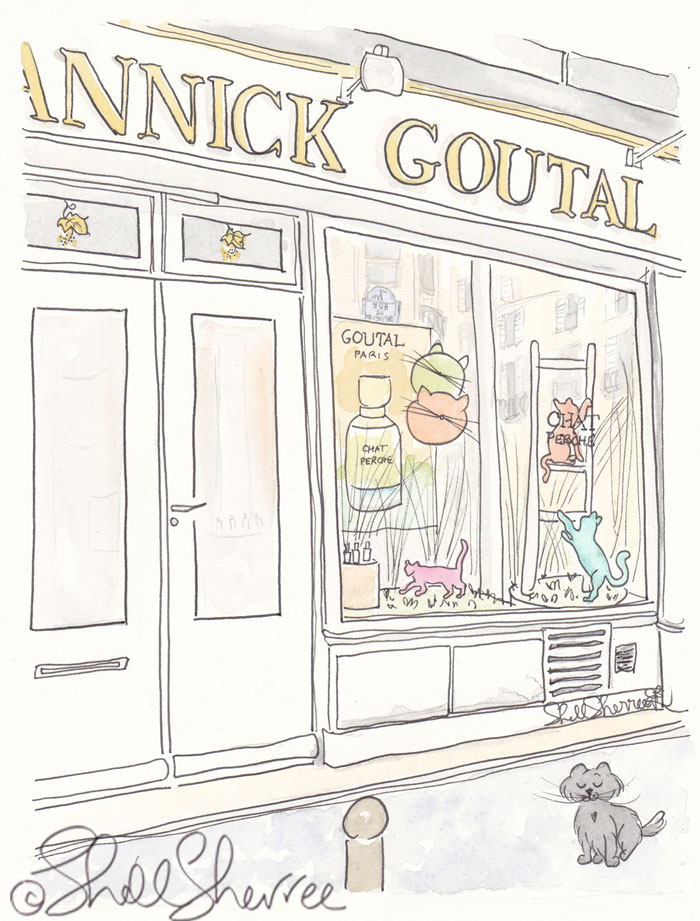 Annick Goutal Paris illustration and Chat Perche with Pretty Kitty © Shell Sherree