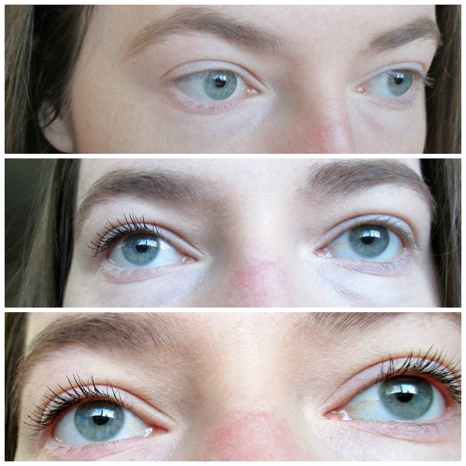 1adbbb0b981 Top photo: No mascara. Middle photo: Length mascara on left side only, none  on right. Bottom photot: Both steps on both eyes