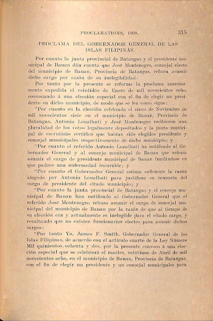 1908 proclamation to select replacement councilor, Spanish version.