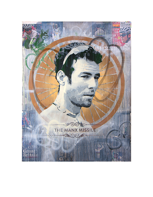 Mark Cavendish - James Straffon cycling art When the Fox met The Rooster, Luxembourg