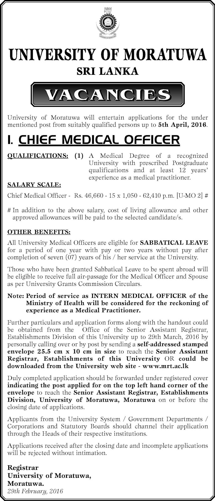Vacancies - Cheif Medical Officer - University of Moratuwa