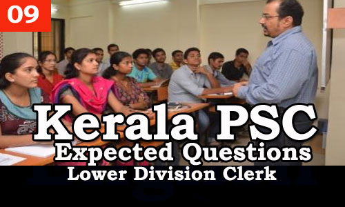 Kerala PSC - Expected/Model Questions for LD Clerk - 9