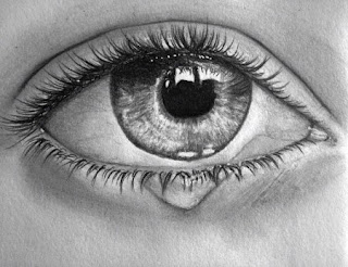 Ojo llorando en blanco y negro