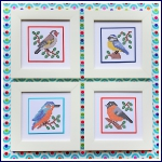 Set of four birds print, prick and cross stitch on card embroidery pattern.