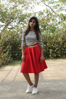 Varshini Sounderajan Long Legs Show In Mini Red Skirt (2)