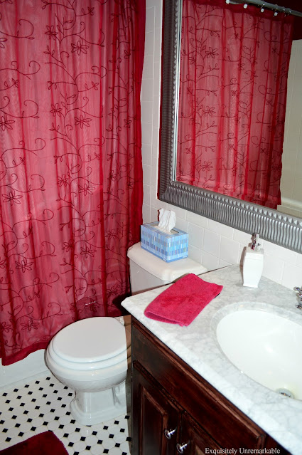 Red and White Bathroom