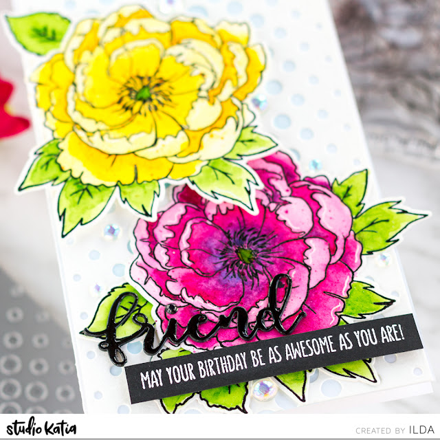 Japanese Peony Slimline Birthday Card for Studio Katia by ilovedoingallthingscrafty.com